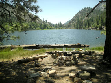 A lovely campsite on the northwest shore of Little Kern Lake