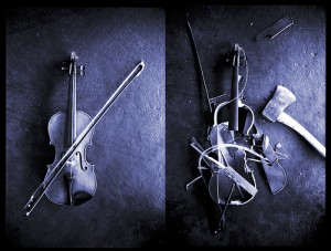 violin, before and after
